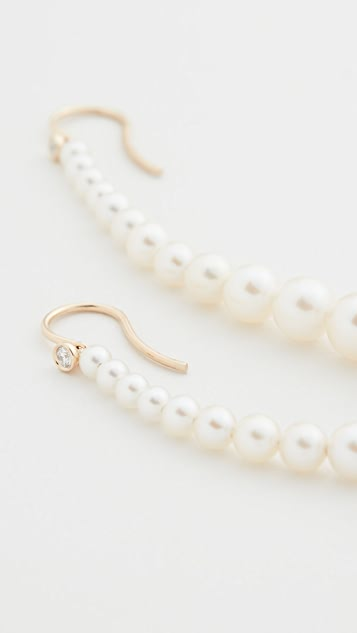 Mizuki 14k Short Graduated Pearl Drop Earrings