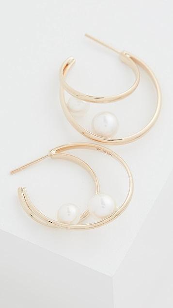 Mizuki 14k Elipse 珍珠耳环