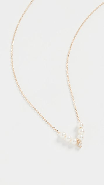 Mizuki 钻石镶嵌六颗珍珠项链