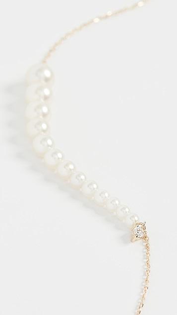 Mizuki Graduated Pearl Necklace with Diamond