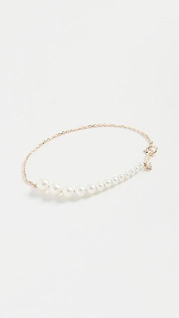 Mizuki 渐变色珍珠和钻石手链