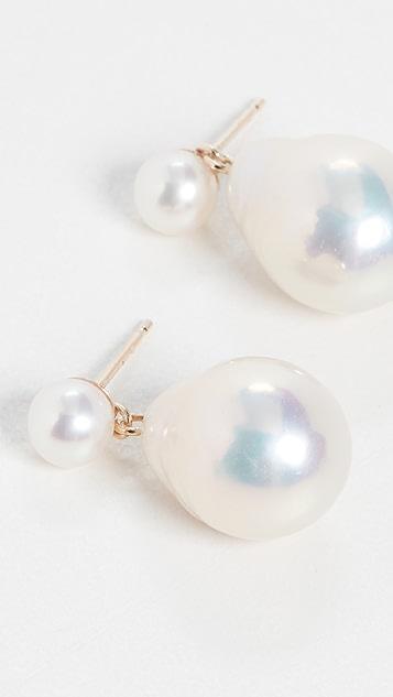 Mizuki Small Pearl Drop Earrings