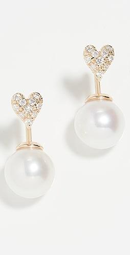 Mizuki - Heart and Pearl Horizon Earrings