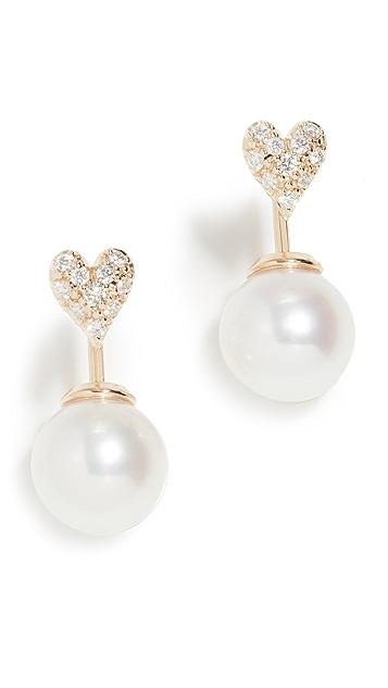 Mizuki 心形和珍珠耳环