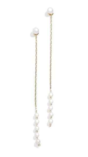 Mizuki 珍珠链式坠饰耳环