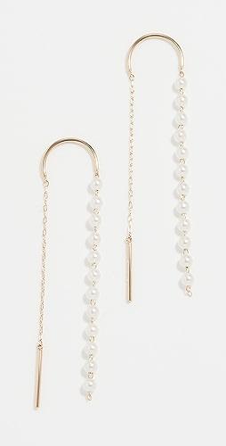 Mizuki - Pearl Thread Through Earrings