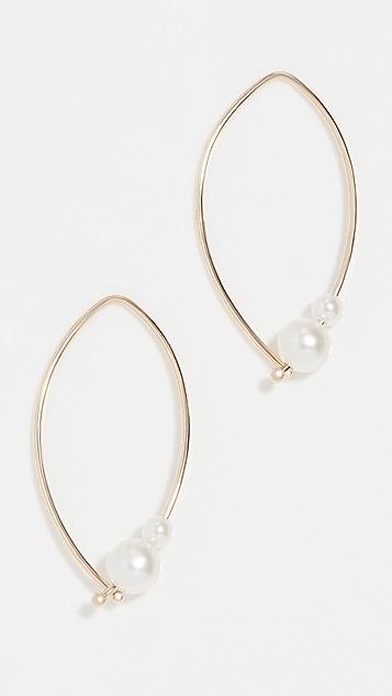 Mizuki Marquise Pearl Hoop Earrings