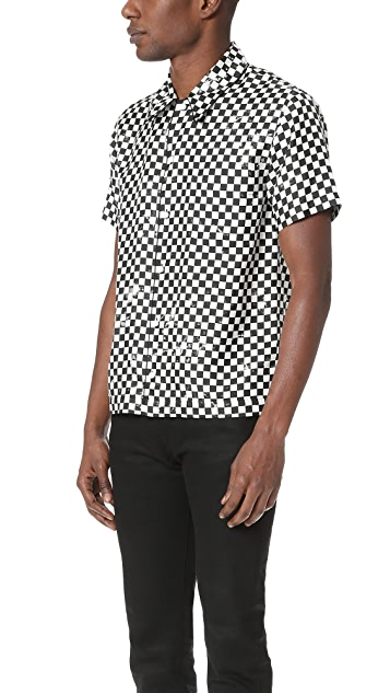 Marc Jacobs Distressed Check Short Sleeve Shirt