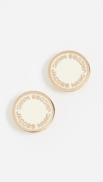Marc Jacobs Enamel Logo Disc Stud Earrings - Cream