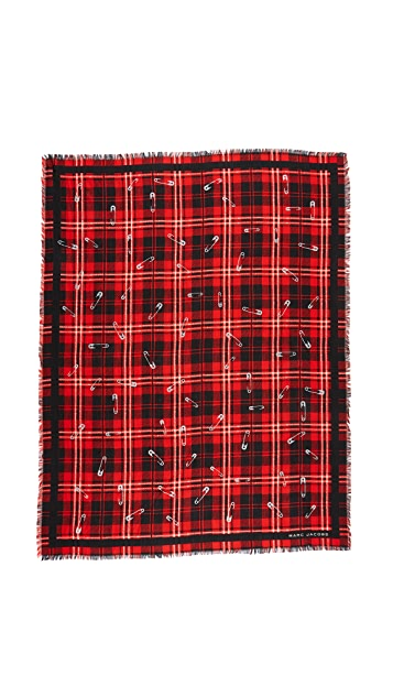 Marc Jacobs Red Plaid Stole Scarf