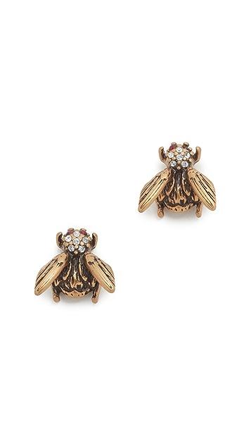 Marc Jacobs Charms Beetle Stud Earrings in Metallic Gold 0QsmHoS