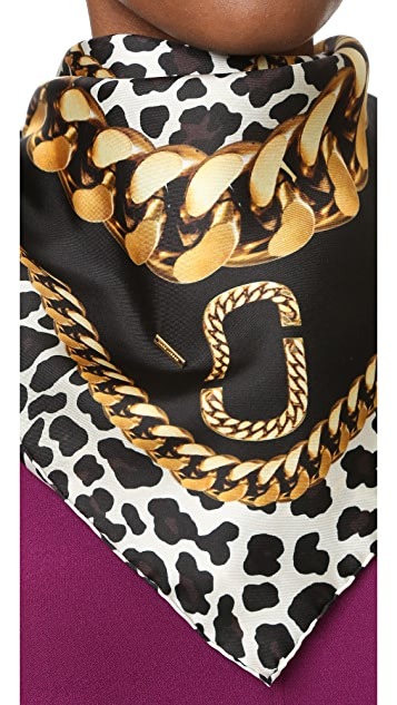 Marc Jacobs Leopard & Chains Scarf