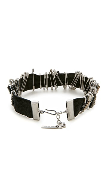 The Marc Jacobs Safety Pin Velvet Choker Necklace