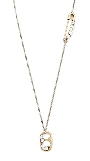 Marc Jacobs Strass Safety Pin Pendant Necklace