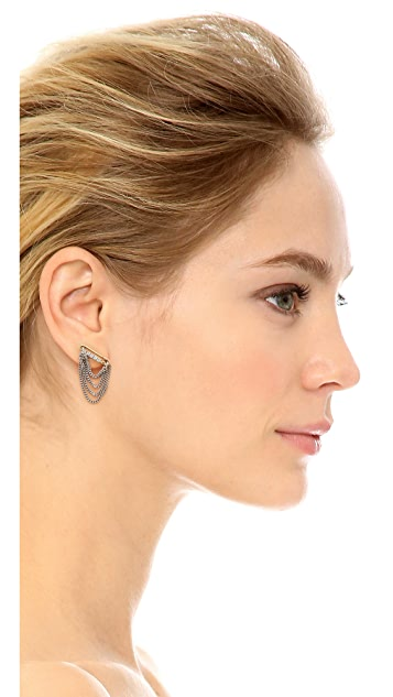 Marc Jacobs Safety Pin Layered Chain Stud Earrings