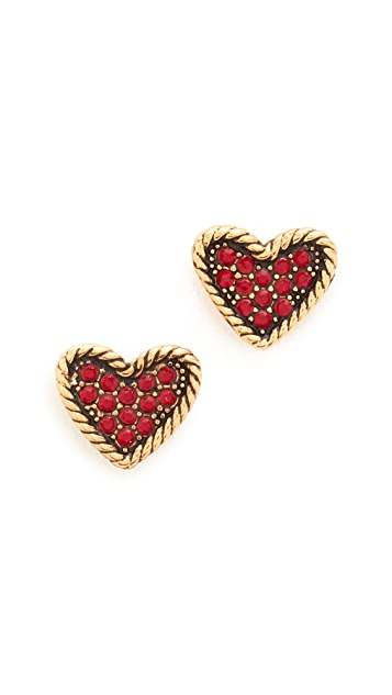 Marc Jacobs MJ Coin Heart Stud Earrings