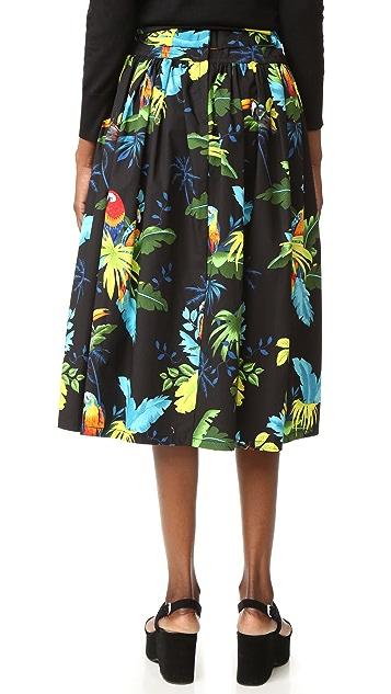 Marc Jacobs Parrot Belted Full Skirt