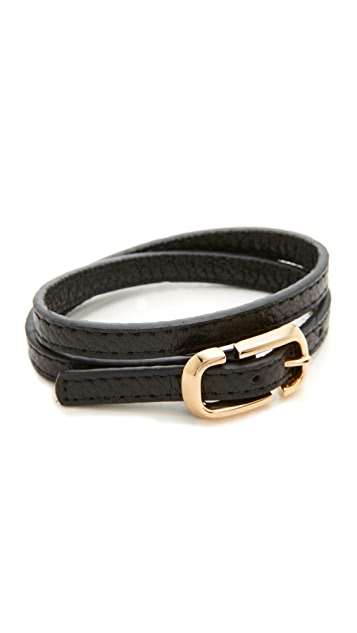 Marc Jacobs Icon Buckle Double Wrap Leather Bracelet