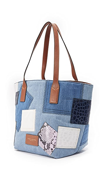 Marc Jacobs Denim Patchwork Wingman Tote
