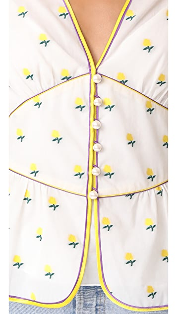 Marc Jacobs V Neck Flutter Sleeve Blouse