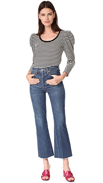Marc Jacobs Striped Puff Sleeve Top