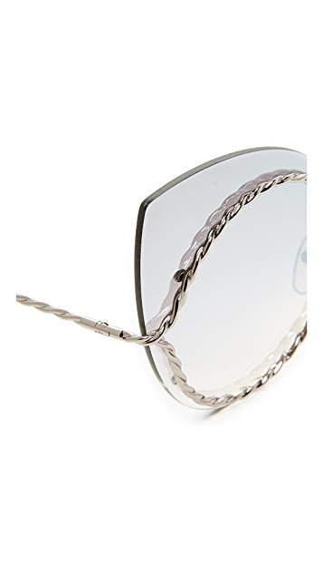 Marc Jacobs Rimless Rope Outline Sunglasses