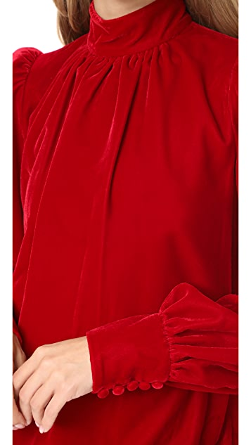 Marc Jacobs Velvet Bishop Sleeve Dress