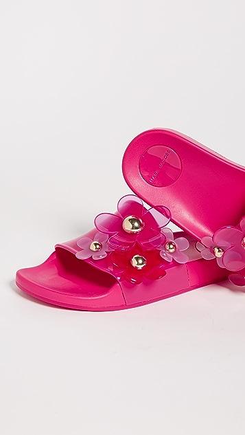 Marc Jacobs Daisy Aqua Slides