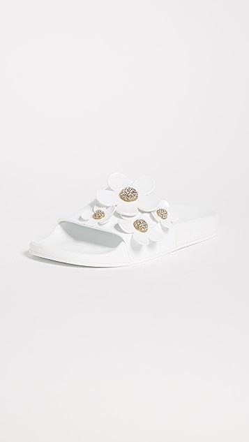 Marc Jacobs Daisy Pave Aqua Slides