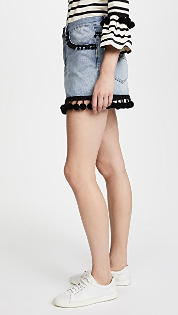 Marc Jacobs Denim Miniskirt with Pom Pom Embroidery