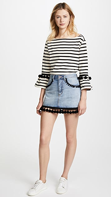 Marc Jacobs Denim Miniskirt with Pom Pom Embroidery