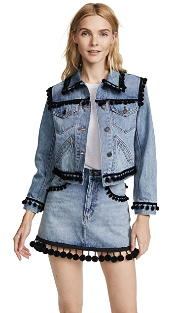 Marc Jacobs Shrunken Jean Jacket with Pom Poms