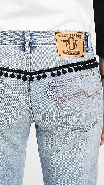 Marc Jacobs Denim Jean with Pom Poms