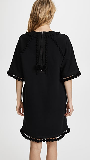 Marc Jacobs Sweatshirt Dress with Pom Poms