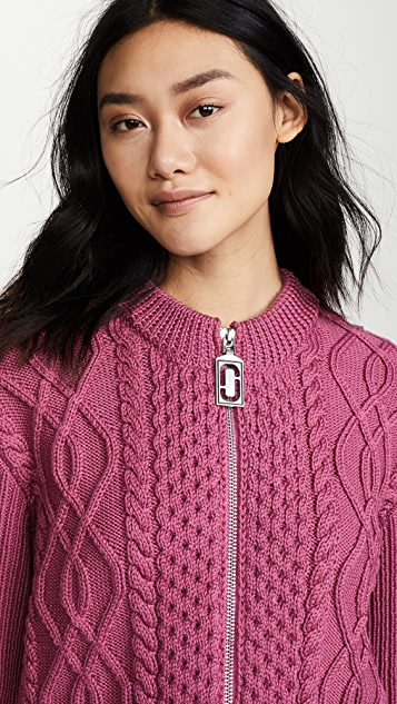 Marc Jacobs Long Sleeve Crew Neck Cable Cardigan