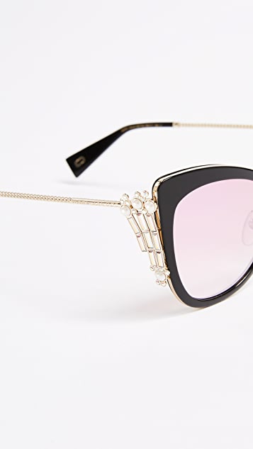 Marc Jacobs Crystal Embellished Cat Eye Sunglasses