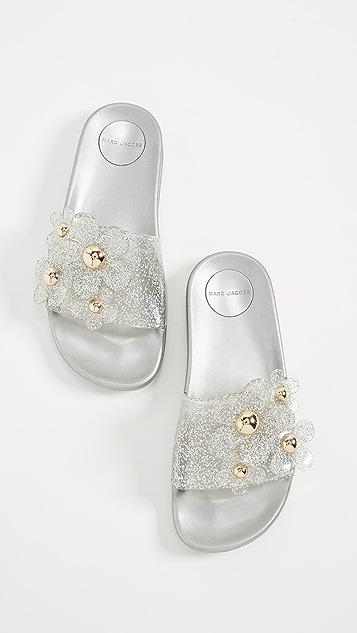 Marc Jacobs Daisy Aqua Slide Sandals