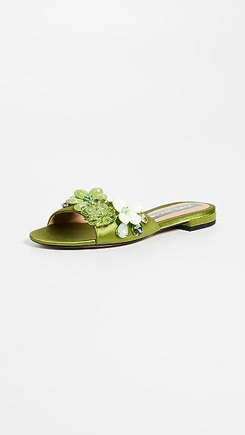 Marc Jacobs Clara Embellished Slides - Avocado