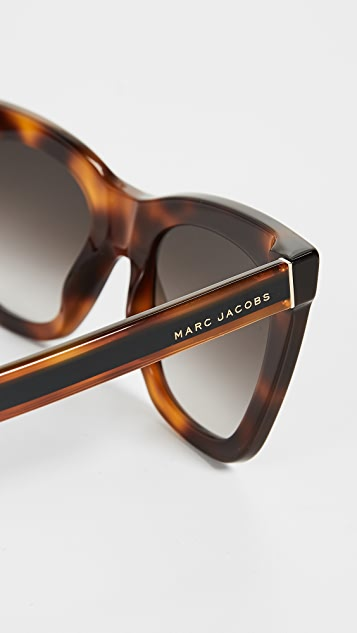 Marc Jacobs Square Havana Frame Sunglasses