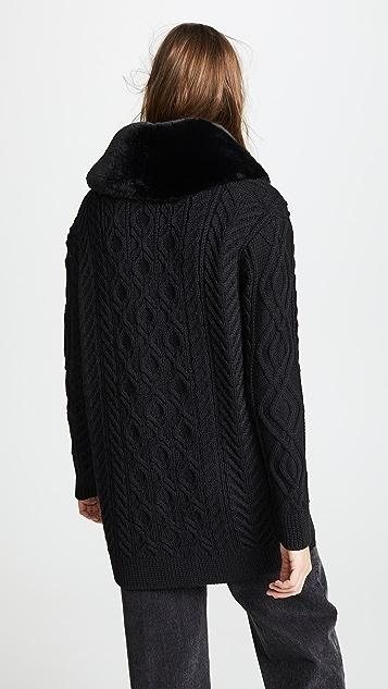 Marc Jacobs Cardigan with Faux Fur Trim