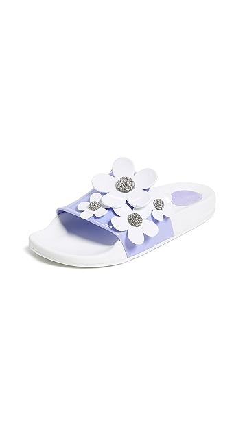 Marc Jacobs Daisy Pave Aqua Slide Sandals