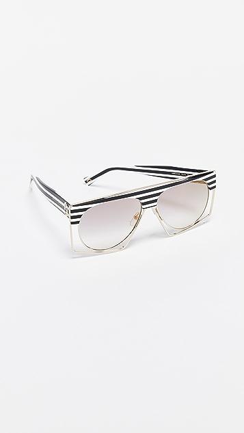 Marc Jacobs Black & White Striped Shield Sunglasses