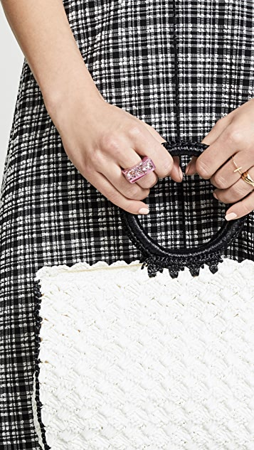Marc Jacobs Rectangle Crystal Resin Ring