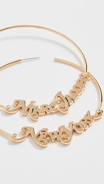 Marc Jacobs Серьги-кольца с логотипом