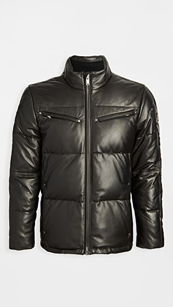 Moose Knuckles Symington Leather Down Puffer Coat