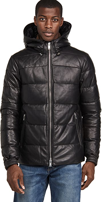 Moose Knuckles Keg River Leather Puffer Jacket