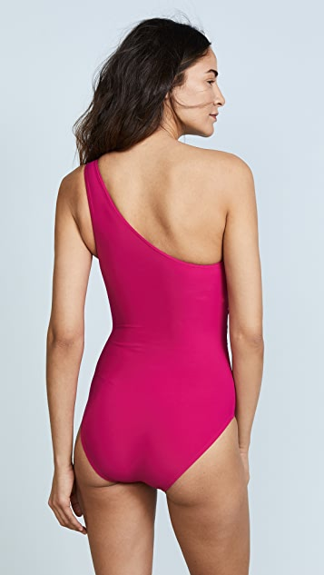 Michael Kors Collection One Shoulder Shirred One Piece
