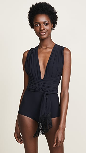 Michael Kors Collection Shirred Wrap Belted One Piece