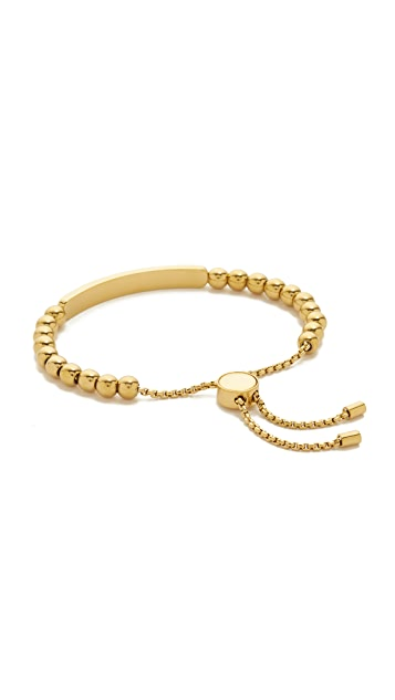 Michael Kors Logo Plaque Adjustable Beaded Bracelet