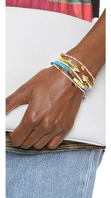 Michael Kors Logo Plaque Adjustable Beaded Bracelet